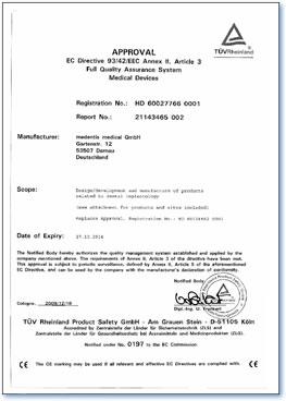 implanti sertifikat CE Approval
